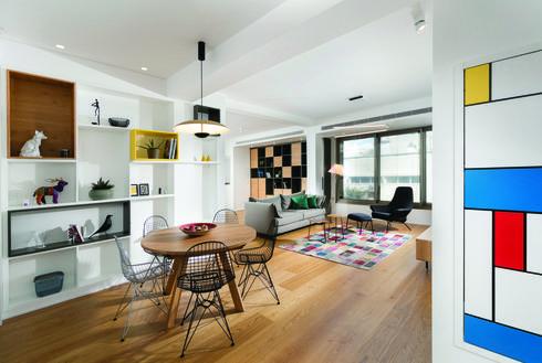 דירה מודרנית בתל אביב, עם מחווה למונדריאן, צילום: אלעד גונן